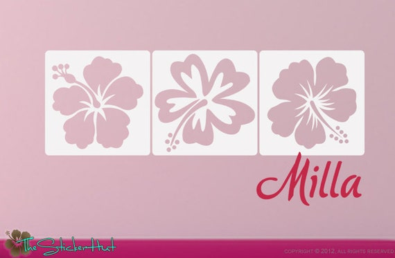 Hibiscus with Your Name Panels • Vinyl Lettering • Girls Bedroom Decor • Wall Decals • Vinyl Wall Art Graphics Decals Stickers 1311