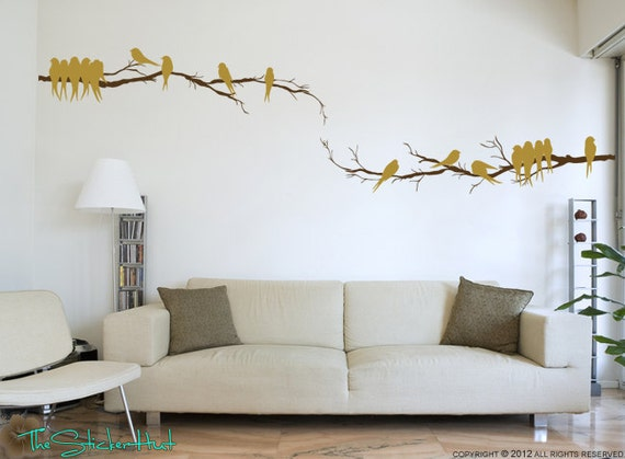 2 Branch with 17 Birds - Home Decor Lettering - Art for Your Walls - Removable Rental Art - Vinyl Wall Art Graphics Decals Stickers 1329
