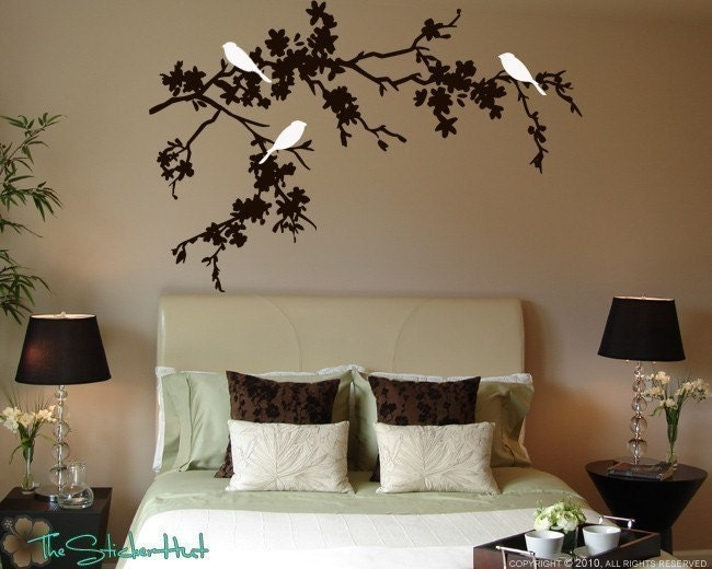 3 Birds On Flowering Branches Home Decor Vinyl Lettering