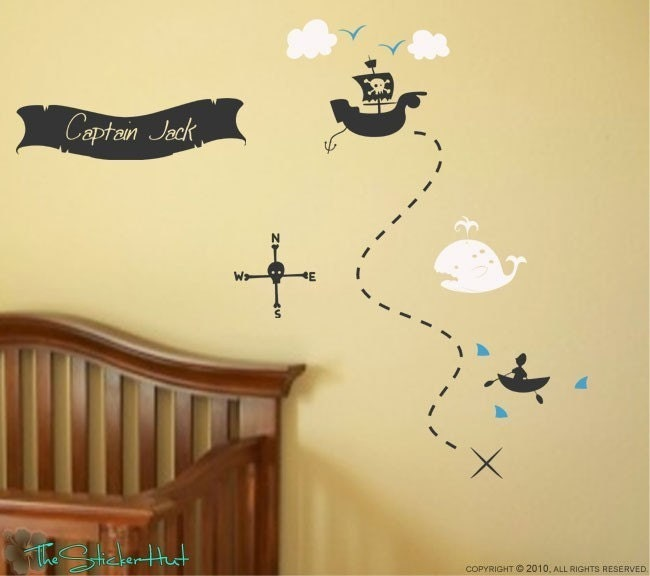 Pirates Kids Wall Decal: Pirate Treasure Map Your Name Boys Room Nursery Vinyl