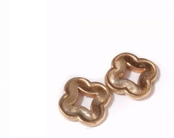 Tiny Quatrefoil Stud Earrings - 14k Gold
