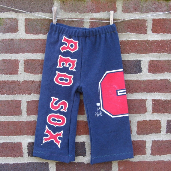 boston red sox 5 upcycled / recycled shorTEEs kung-fu pants 18-24months