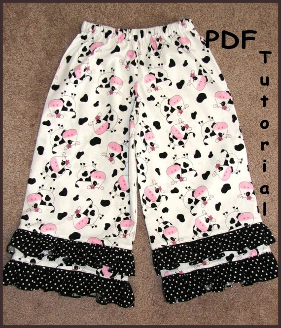 You Make It - DIY Tutorial - How to Make a Boutique Double Ruffle Pants Instructions PDF ebook \/size 1-6