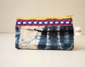 french and batik small zippered bag