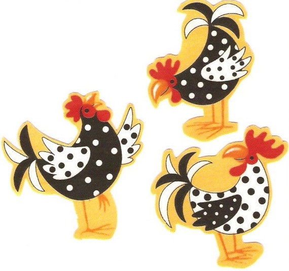 Polka Dot Chickens Iron On Fabric Appliques