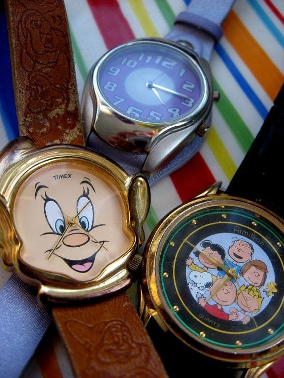 Watch Collection - retro watch trio of Disney, Peanuts, for steampunk spare parts, collage or industrial collectable craft supplies