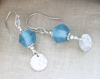Recycled Glass Earrings Blue Dangle Hammer Textured Disc Sterling Silver - Redirection