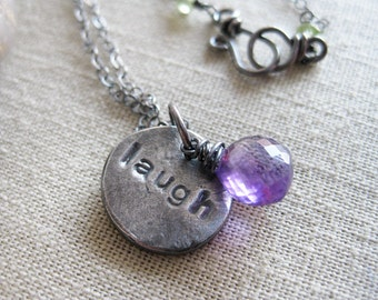 Inspirational Jewelry Amethyst Necklace Hand Stamped Eco Friendly Jewelry Minimalist Recycled Silver February Birthstone Necklace - Laugh
