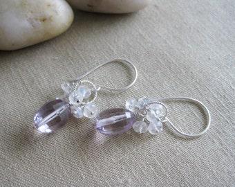 Pink Amethyst Earrings Flashy Rainbow Moonstone Sterling Silver February Birthstone - Pennyroyal