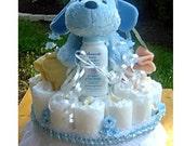 1 Tier Blue Diaper Cake