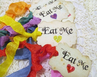 Alice Eat Me Tags Party Favor w/ Rainbow Ribbons - Rainbow Sparkle Hearts - Alice in Wonderland - Set of 18 - Birthday Shower Unbirthday Tea