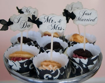 Wedding Cupcake Toppers Party Picks w/Ribbons - Bridal Mix - Set of 100 - Just Married I Do Mr. & Mrs. -Choose Ribbons- Rustic Vintage Style