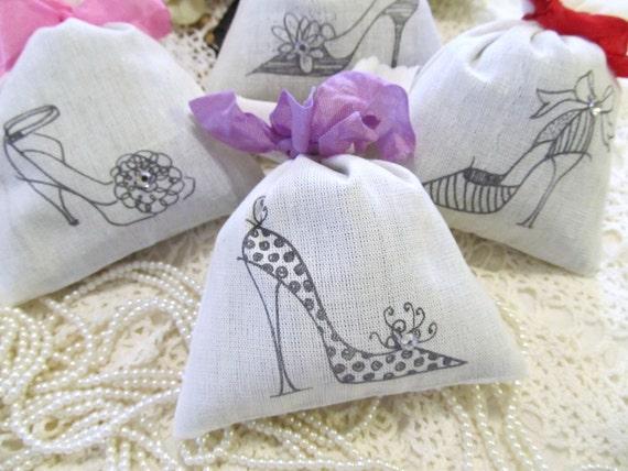 Glamour Shoes Ladies High Heels Lavender Sachet Favor - Set of Six - Choose Ribbon Color - Bridal Bachelorette Lingerie Party