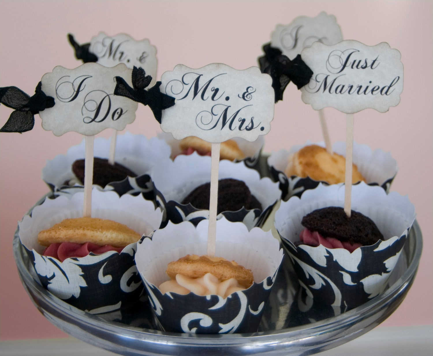 Wedding Cupcake Toppers Party Picks W Ribbons By Auntiesjammies