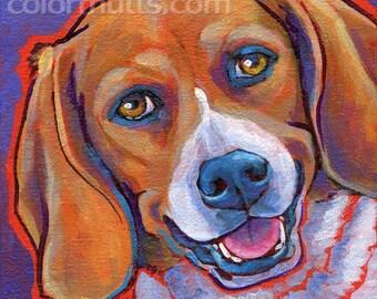 BEAGLE Dog Portrait Original Art Painting on Canvas 6x6 by Lynn Culp