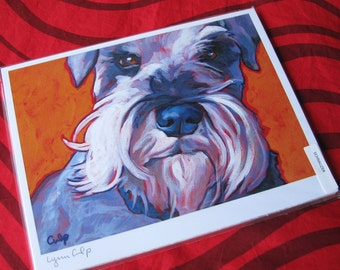 SCHNAUZER Dog on Orange 8x10 Signed Art Print from Painting by Lynn Culp