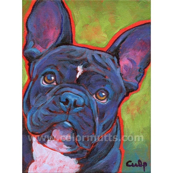 Black FRENCH BULLDOG Dog Original Portrait Art Painting 6x8 by Lynn Culp
