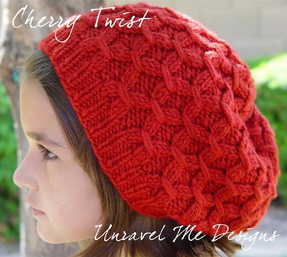 PDF Knitting Pattern - Cherry Twist Hat