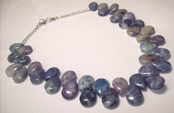 Blueberry Quartz teardrop statement drama Necklace stone necklace