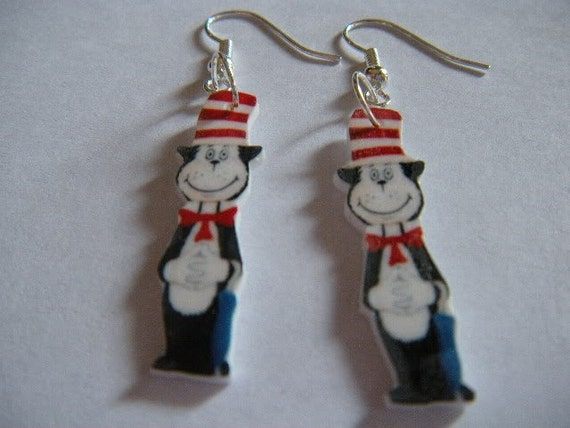 items similar to dr seuss cat in the hat earrings on etsy