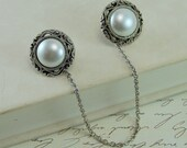 Sweater Clip - Antique Silver Pearl Buttons