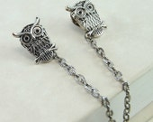 Owl Sweater Clips in Antique Silver