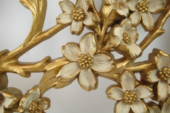 Vintage Gold and Ivory Floral Branch Wall Hanging