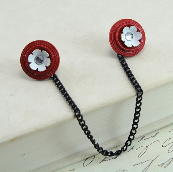 Sweater Clips - Vintage Red and White Flowers
