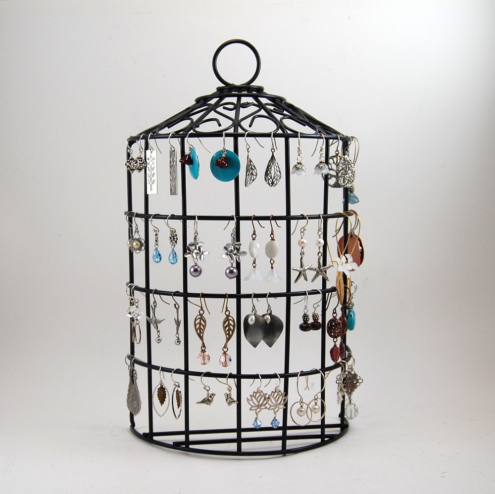 birdcage jewelry stand earring organizer back by rebeccasfinds
