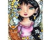Springtime Owl Fairy signed open edition ElaineCoxArt