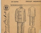 Early 1900s UNUSED 1923 Antique McCall 8734  RARE Mens Pajamas Sewing Pattern 36 Asian Influence