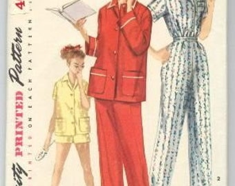 Vintage Simplicity 1955 Pajamas in 2 Lengths Pattern 1325 Size Jr Miss Teen Age Size 14 Bust 32