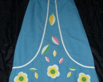 Vintage Maxi Long Beach Skirt S M Applique Flower Hippie Cruise from College Sport Shop