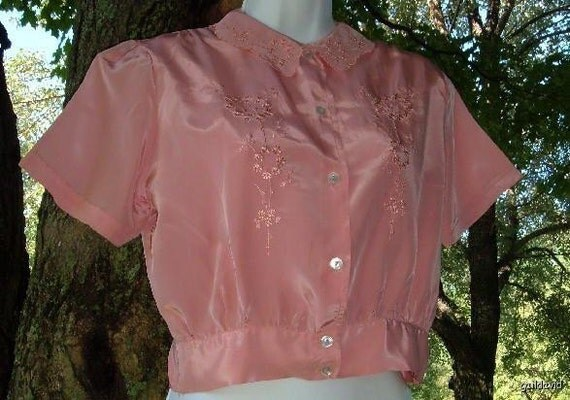 Vintage 40s Coral Fruit of the Loom FOTL Blouse with Embroidery 38 Large L NWOT
