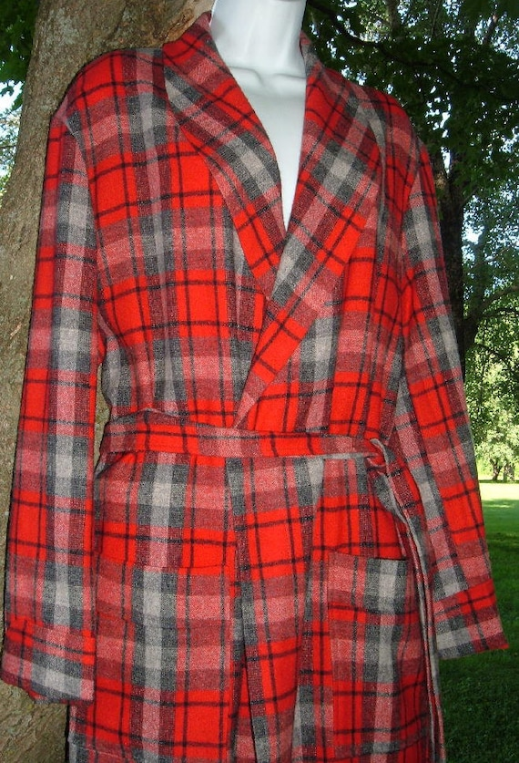 Vintage 40s Mid Century Parkella Flannel Classic Wool Robe L EXCELLENT Condition