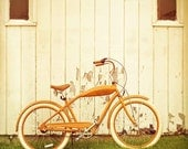 Bicycle photography, rustic decor, retro bike, orange wall art, autumn color, bohemian unisex metro large wall art