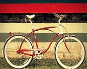 Bicycle art bike photography red bike still life fine art travel photograph apple red art bike print travel art behind the sofa