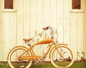 Bicycle photography home decor bike print tango orange color biking wall art Tour de France travel photo - 8x8