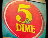 Five and dime, mid century playroom art, modern red kitchen, red aquamarine decor road sign, travel art, ephemera, red art