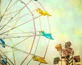 Art for nursery Carnival photography children's room kids art mint green spring colors Ferris wheel summer circus teal turquoise sky