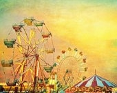Carnival Photography Midway Sunset carnival summer Ferris wheel county fair textured teal green sky carousel nursery decor child's room art