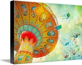 Carnival art nursery decor gallery wrapped wood panel Carnaval Au Soleil - 8x10 Signed by artist - Ready to hang