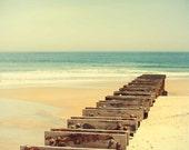Beach photography, Summer, a pier, ombre, mint green waves, peach coral sand, ocean spa, holiday, carlchristensen