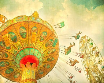 Children's decor, kids room, nursery art, Ferris wheel print, circus art, turquoise teal green orange, carnival ride decor