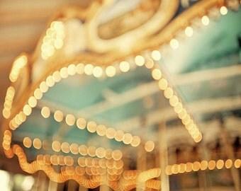 Carnival Photography, nursery art, teal blue gold carousel print county fair large art - 24x30 photograph
