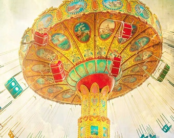 Carnival Photography, Nursery Art, Swing Ride, Circus Print, Carnival Art, Fine Art Photography, tango orange yellow county fair midway