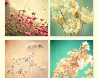 Flower photography, home decor, wall hanging, wall art, floral photo set, rustic decor, nature photos spring garden botanical photos 4 5x5's