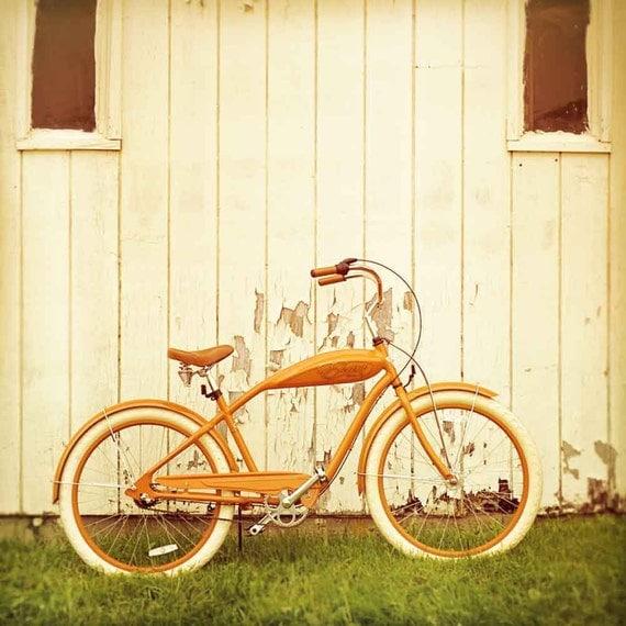 Bicycle photography, rustic decor, retro bike art, orange wall art, autumn color, bohemian unisex metro large wall art, orange decor