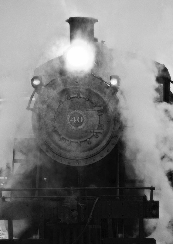 Train photography, black and white photo, railroad print, train decor, monochromatic, steam train express 8x10