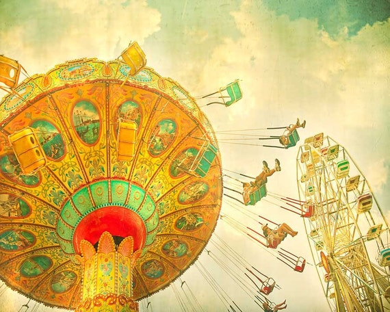 Children's decor, kids room, nursery art, Ferris wheel print, circus art, turquoise teal green orange  - 8x10